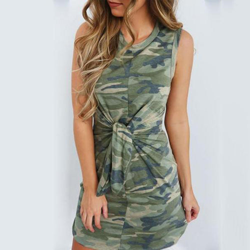 Round Neck  Camouflage  Sleeveless Bodycon Dresses