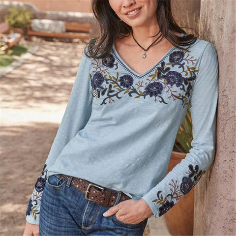 Vintage Embroidered V-neck Long Sleeve T-Shirt