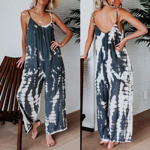 2019 Spaghetti Strap  Backless  Printed  Sleeveless Jumpsuits