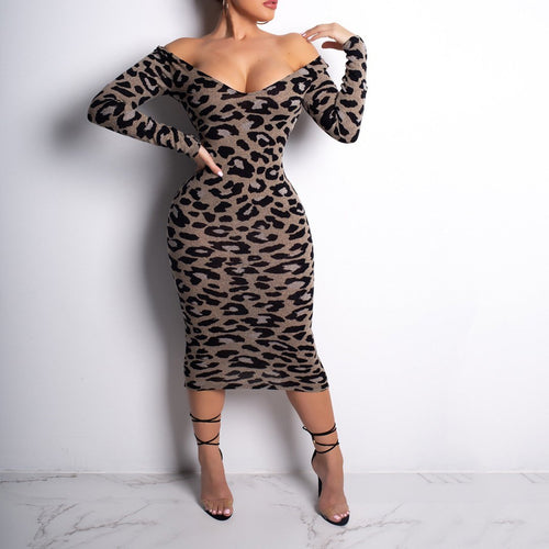 Casual Sexy Leopard-Print Long Sleeved Thin Off Shoulder Maxi Dress