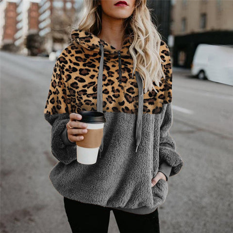 Sexy Leopard Zip Pocket Plush Hoodie Sweater