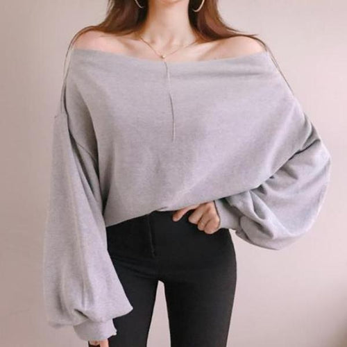 Fashion Loose Sexy Off   The Shoulder Hoodie Blouse