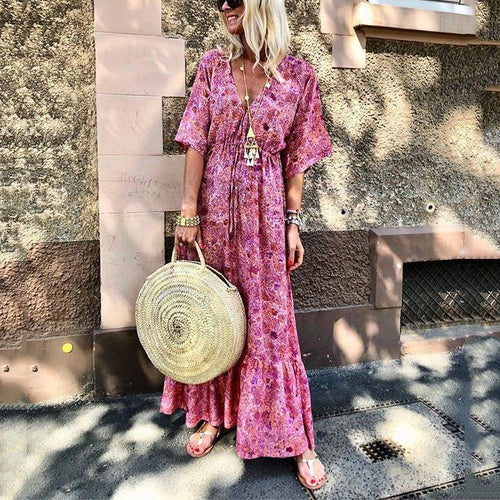 2019 Fashion V Neck Flare Sleeve Print Vacation Maxi Dress