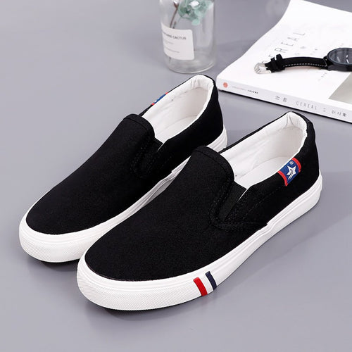 Flat bottom casual couple Super size canvas shoes