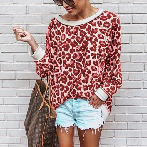 Autumn And Winter Sexy   Leopard Round Collar Long-Sleeved Shirt
