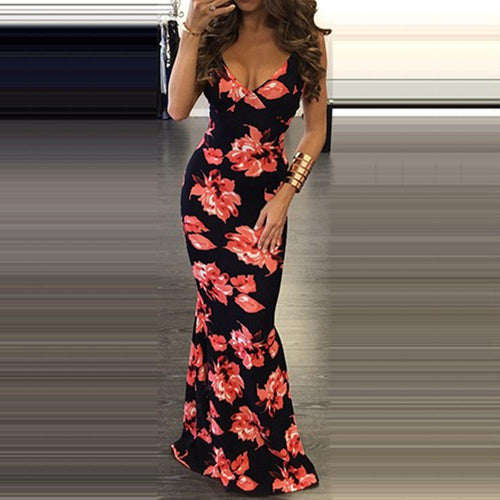 Casual Simple Fashionable Sexy Printed Shown Thin Maxi Dress