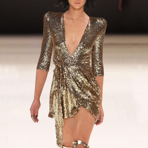 Casual Deep V-neck  Sexy Sequined Evening Mini Dress