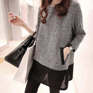 Baggy Large Size With   Long Sleeve Round Neck Top T-Shirt