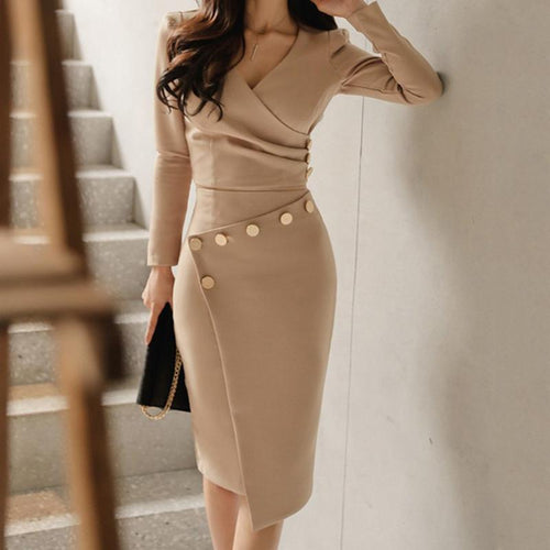 2019 Surplice  Ruched Single Breasted  Decorative Button  Plain Bodycon Dress