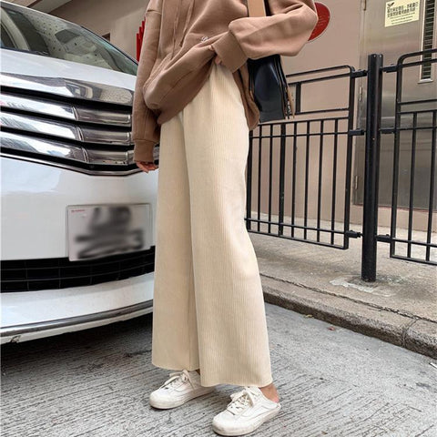 Loose Hundred Light   Core Fluff Pit Strip Casual Wide Leg Trousers