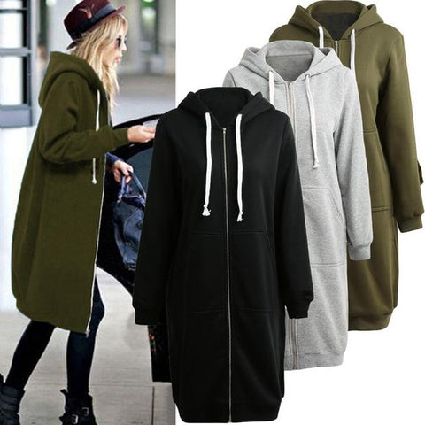 Fashion Long Sleeve Loose Hoodie Coat