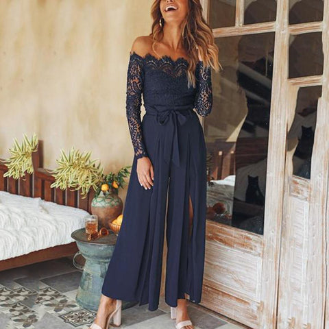 Sexy Off Shoulder Lace Split Lace-Up Slim Jumpsuit