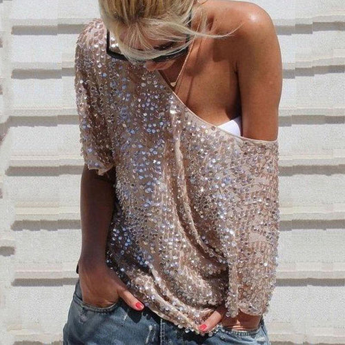 2019 Sequined Middle Sleeves Sparkling Casual T-Shirt