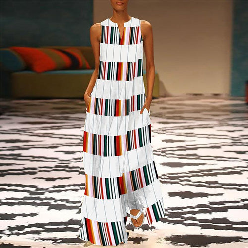 Majorgous Fashion V Neck Colorful Striped Casual Maxi Dress