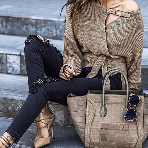 Women's Off-The-Shoulder Long Sleeve Sweater Coat