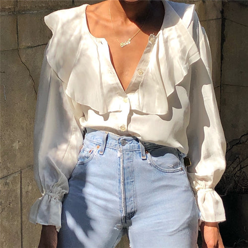 Elegant Solid Color Ruffle Collar Flared Sleeve Shirt
