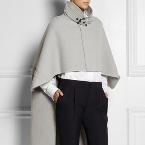 Design Sense Collar Light Gray Bat Sleeve Loose Cloak