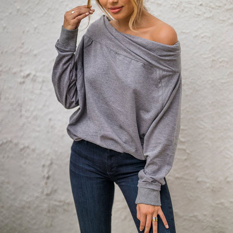 Grey Off-the-shoulder Casual Blouse