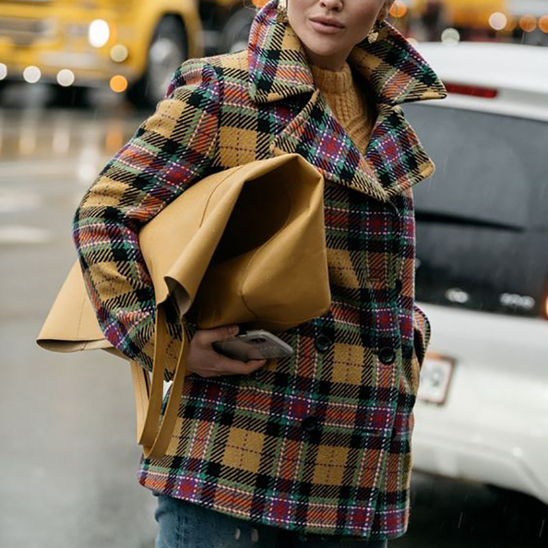Winter Plaid Wool Coat