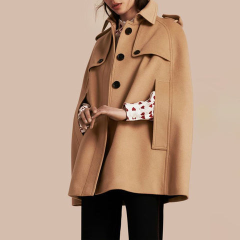 Camel Long Women's Cloak Coat