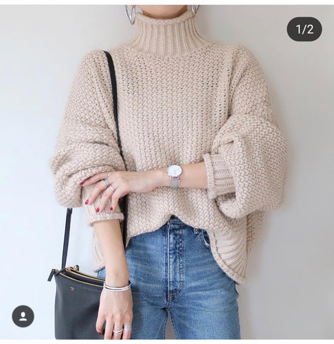 High collar loose solid color knit top