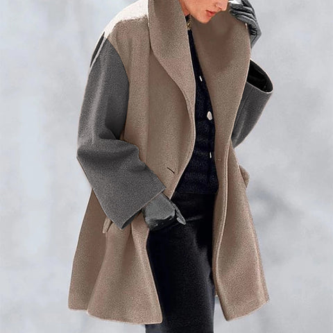 Fashion Temperament Contrast Color Woolen Coat