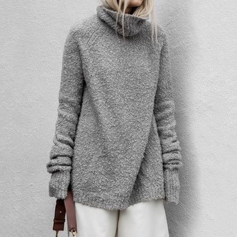 Casual Loose Heap Collar Long Sleeves Sweater
