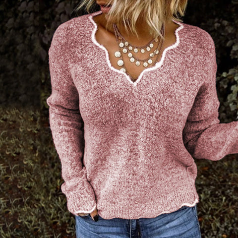 Fashion Irregular V-neck Long-Sleeved Knit Sweater
