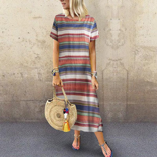 O Neck Short Sleeve Striped Casual Dress