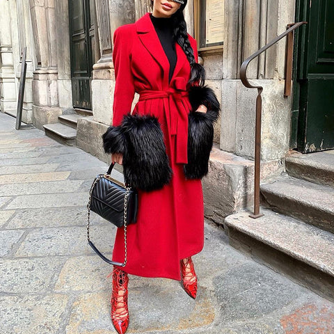 Ladies Fashion Folded Collar Red Long Coat