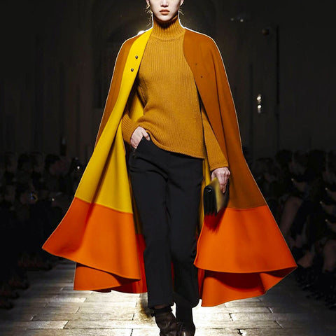 Fashion Lady Colorblock Cloak