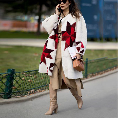 Women's Fashion Plush Printed Coat