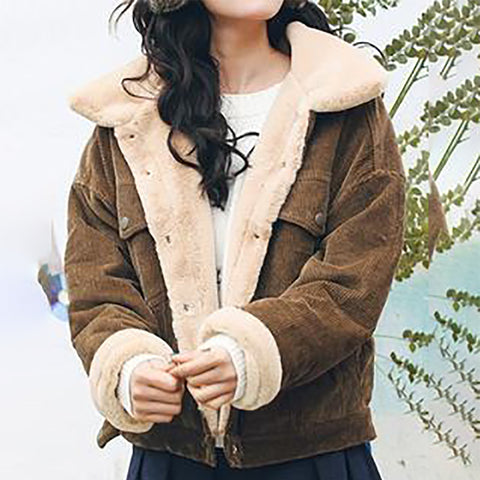 Women's Casual Collar Plush Warm Jacket
