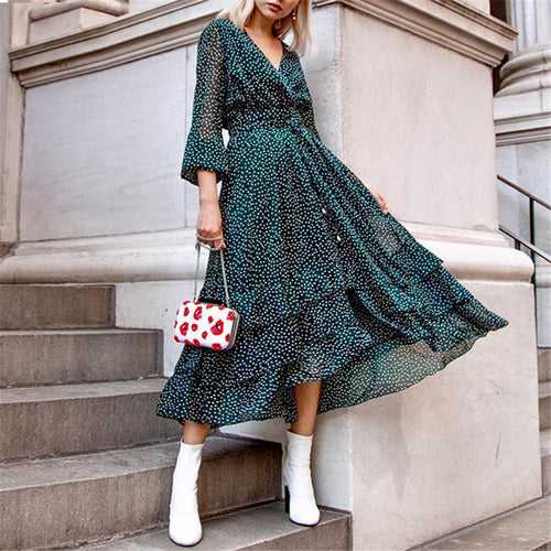 Fashion V-neck Polka Dot Dress