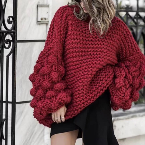 Women's Fashion Solid Color Bishop Sleeve  Sweater