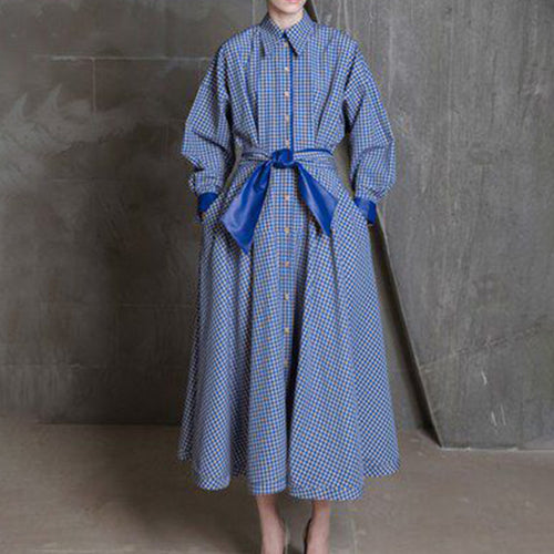 Women's Casual Stand Collar Long Sleeve pattern Trench-Coat Dress