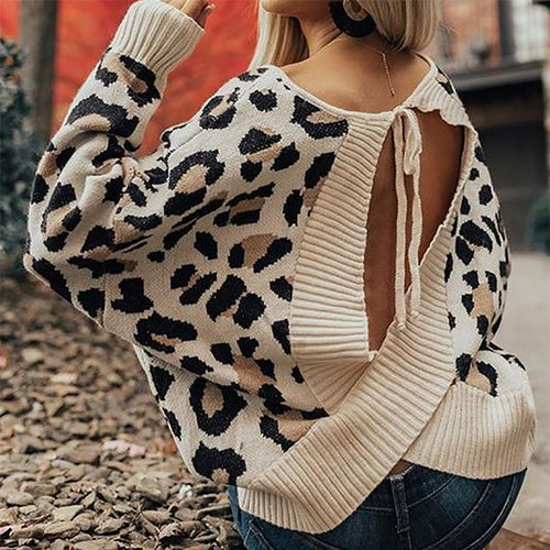 Sexy Leopard Print Open Back Long Sleeve Knit Sweater