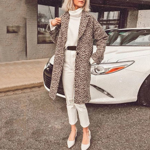 Women's Fashion Long Animal Printed Colour Coat