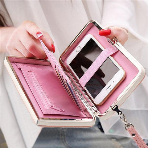Women Universal 5.5 Inch Phone Wallet PU Phone Case