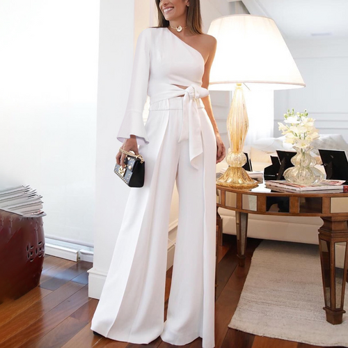 2019 Fashion Pure Colour One Shoulder Long Sleeve Jumpsuit