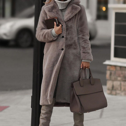 Grey Faux Fur Double Breasted Coat