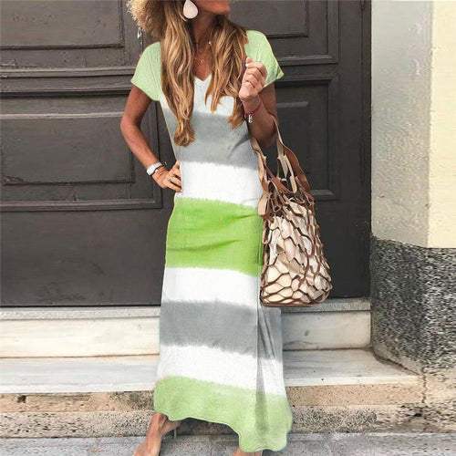 Casual V Neck Short Sleeve Contrast Color Dress