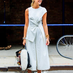 Majorgous Fashion Casual Sleevess Solid Color Loose Jumpsuits