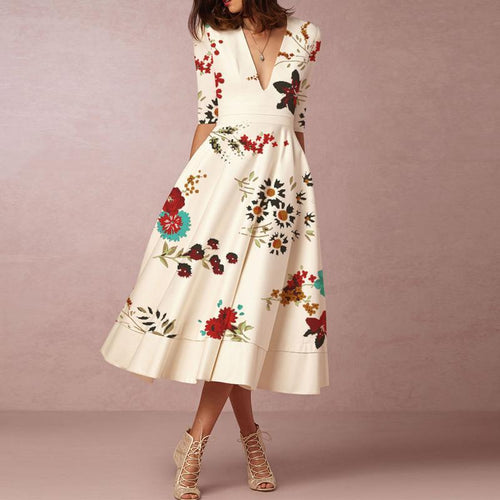 Majorgous Deep V-Neck Printed Formal Skater Dress