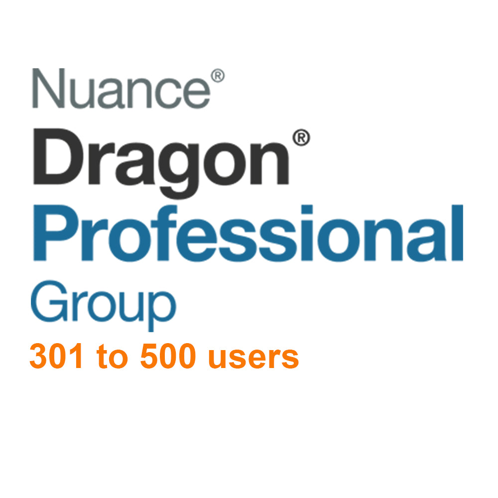 Nuance Dragon Professional Group 15 Volume License 301 - 500 Users - Speak-IT Solutions LTD