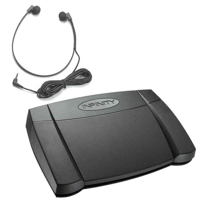 Infinity USB Foot Control & 3.5mm Transcription Headset - Speak-IT Solutions LTD