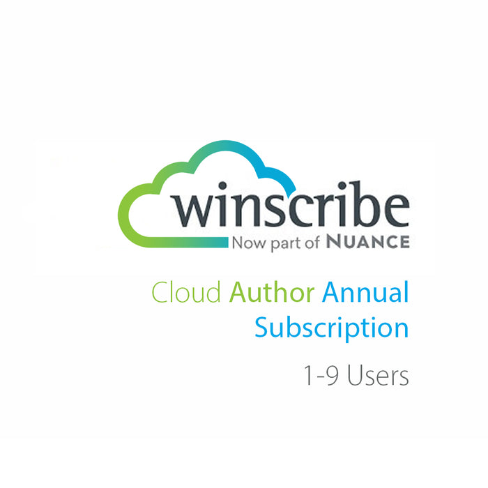 Nuance Winscribe Cloud Author Annual Subscription (1-9 Users) - Speak-IT Solutions LTD