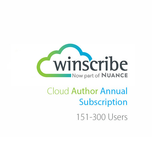 Nuance Winscribe Cloud Author Annual Subscription (151-300 Users) - The Speech Shop