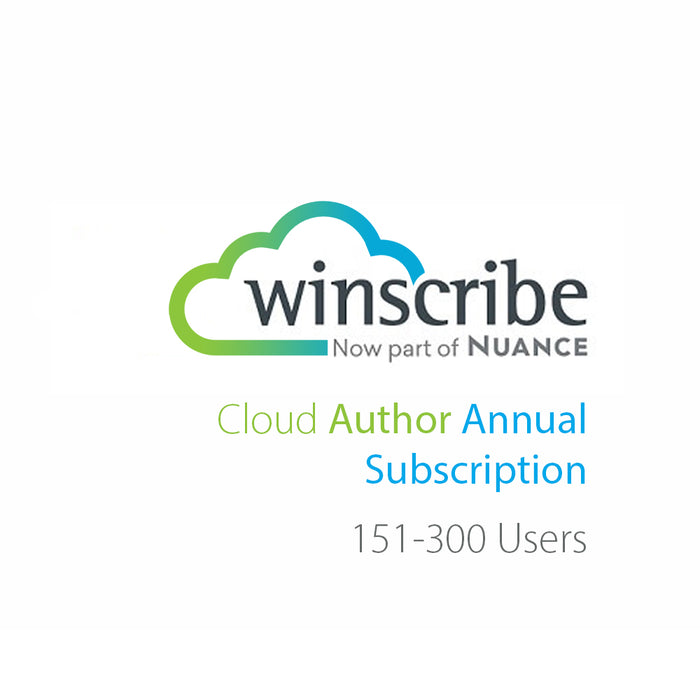 Nuance Winscribe Cloud Author Annual Subscription (151-300 Users) - Speak-IT Solutions LTD