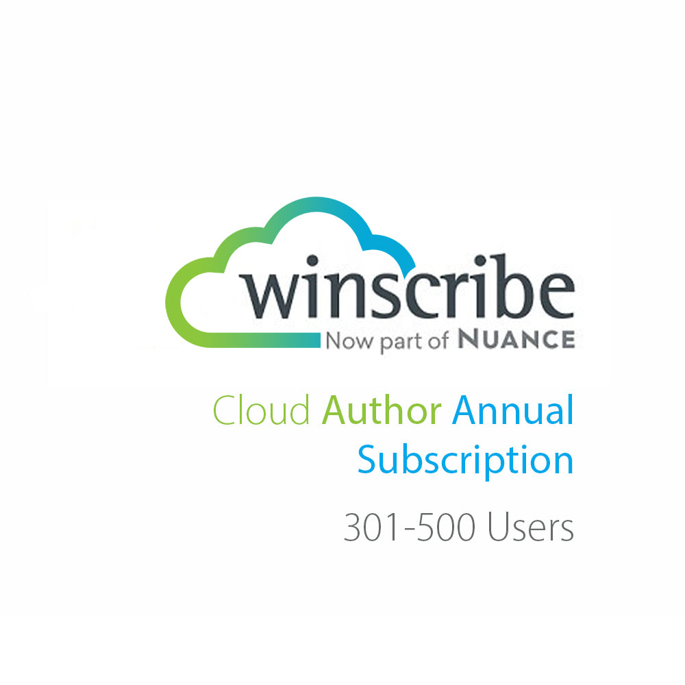 Nuance Winscribe Cloud Author Annual Subscription (301-500 Users) - Speak-IT Solutions LTD